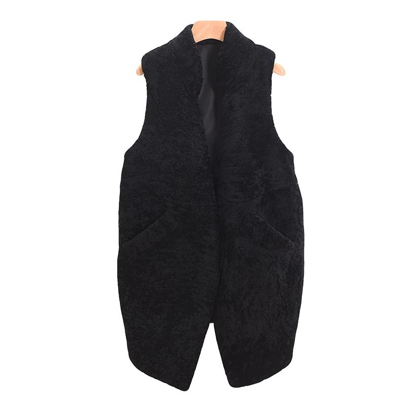 包邮羊剪绒皮草外套时尚女装皮毛一体中长款马甲修身保暖上衣特价