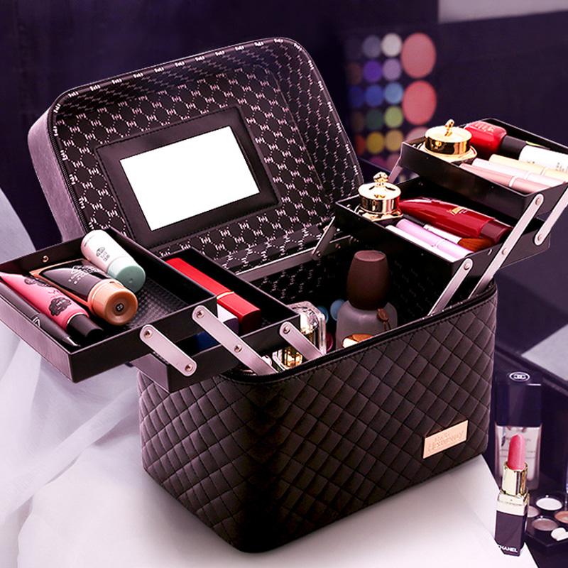 大容量韩国化妆包女多功能层小号网红便携手提化妆品收纳盒简约箱