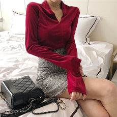 Autumn new Korean fashion wild retro chic warm slim slimming velvet bottoming shirt V-neck shirt tide