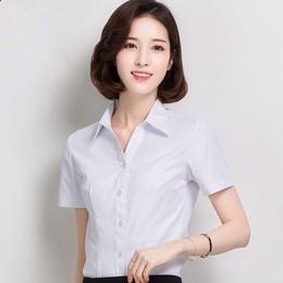 酒店工作服夏装女职业工装白衬衫短袖客服前台服务员正装宽松制服