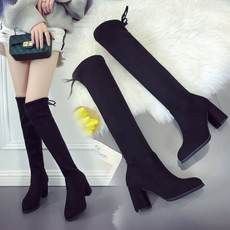 New pointed high-heeled knee boots thick with long boots was thin ladies stretch boots high tube boots women boots