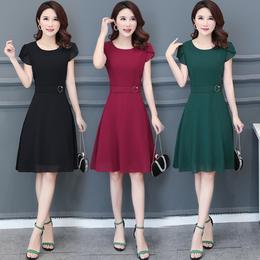 2018夏装新款30-40-50岁中年妇女裙时尚修身中长款短袖雪纺连衣裙