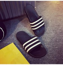 Summer slippers men's tide men and women one word drag indoor and outdoor couples plastic sandals and slippers slip three pole striped beach shoes