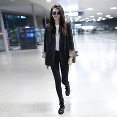 Chic net red wild small suit jacket female Korean version 2019 spring and autumn new popular retro casual black suit
