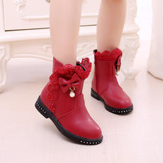 Girls boots winter new 2018 little girl princess boots in the big children's boots Korean version plus velvet Martin boots