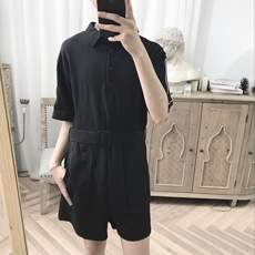 A tea and A Gu black summer loose college wind spell side Korean style simple Siamese casual shorts