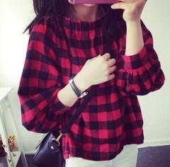 春季女装韩版气质一字领灯笼袖短袖衬衫宽松显瘦露肩格子上衣T恤