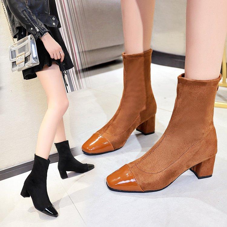 2018春秋新款高跟靴子女粗跟中筒靴时尚弹力靴方头瘦瘦靴拼接短靴