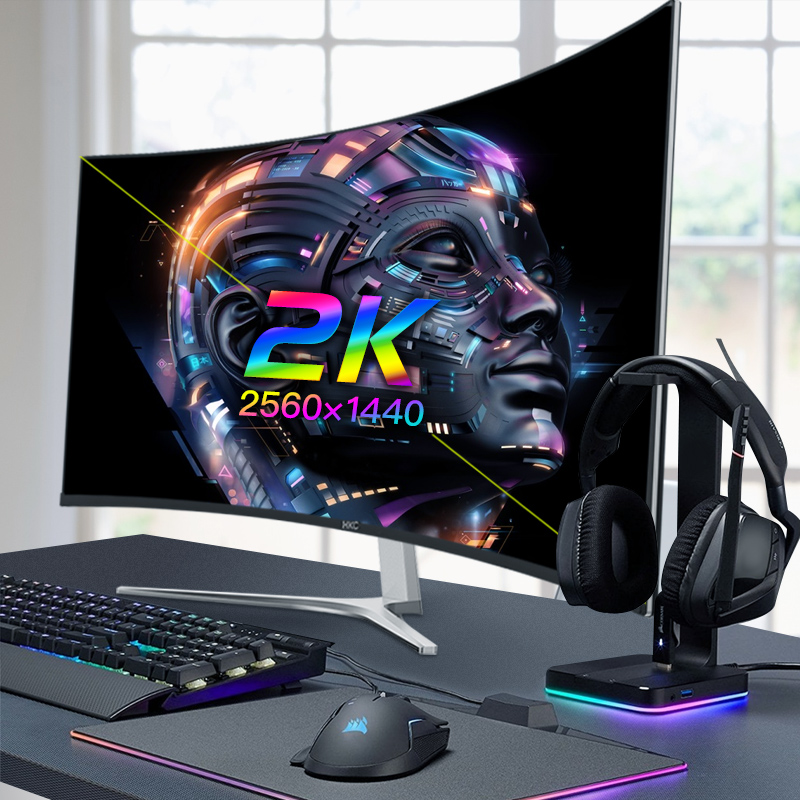 HKC 32英寸2K曲面电脑显示器超薄无边框C325Q电竞游戏液晶吃鸡曲面屏台式显示屏高清大屏网吧27宽屏4K升144hz