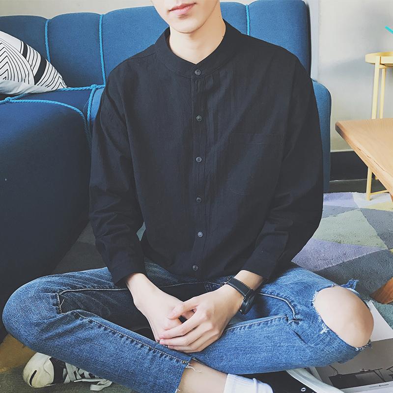 衬衫长袖男韩版潮流黑色立领帅气衬衣ins港风休闲男士寸衫潮外套