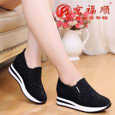 Old Beijing cloth shoes women's shoes spring and autumn new fashion diamonds in the wedge with increased muffin platform women's loafers