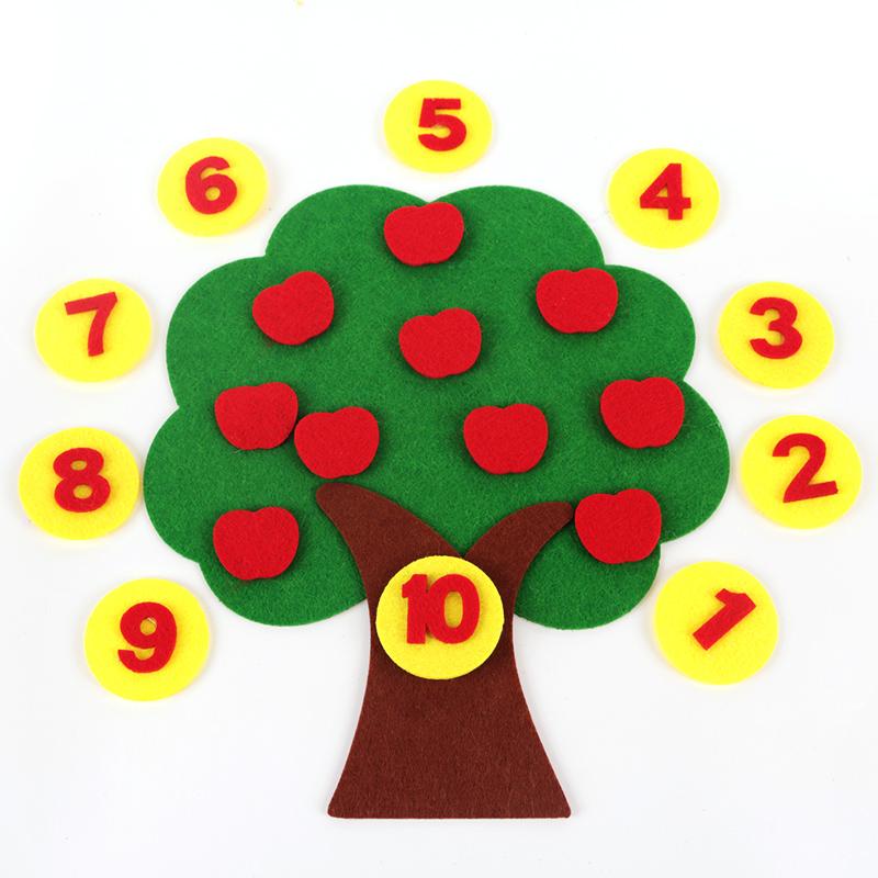 不织布苹果树幼儿园数学区玩具自制数数益智教具材料认识1-10数字