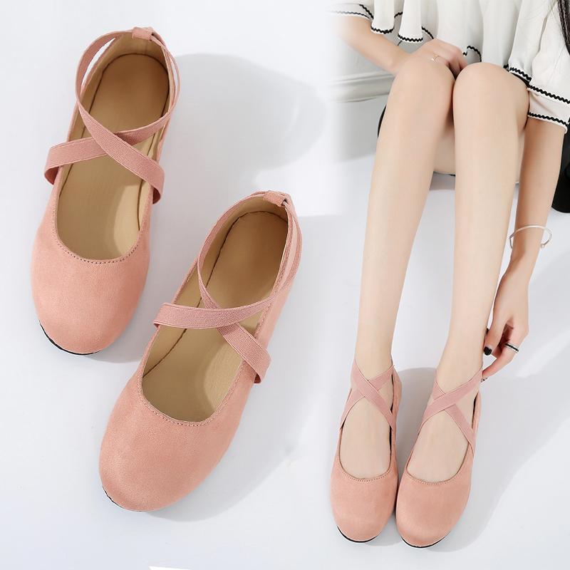 春秋豆豆鞋松紧带女鞋圆头平底浅口瓢鞋交叉绑带单鞋芭蕾舞鞋夏