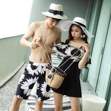 New Retro Couples Swimsuits Women's Siamese Skirts Swimsuits Seaside Hot Spring Resort Beach Lovers