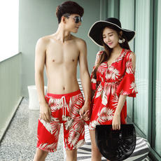 Vintage Couple Swimsuit Female Bikini Three-piece Conservative Thin Sleeve Sleeveless Shoulder Spa Couples Swimwear