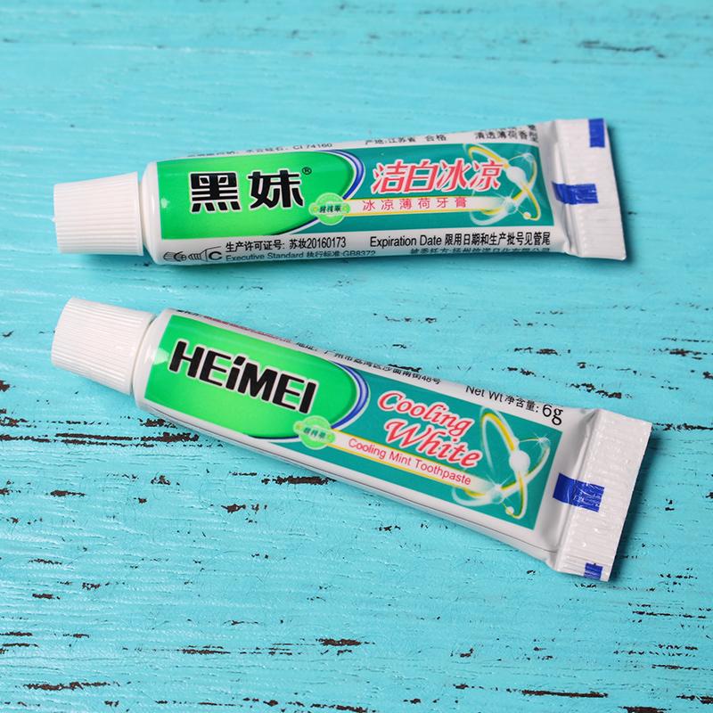 特价黑妹牙膏6g酒店宾馆客房浴场旅游用一次性小牙膏50支特惠装