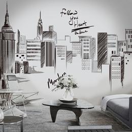 创意贴画速写城市墙面大型装饰品墙贴纸客厅卧室背景墙纸壁纸自粘