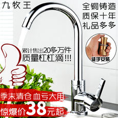 Nine animal husbandry kitchen faucet hot and cold kitchen faucet copper 304 stainless steel sink faucet can be rotated