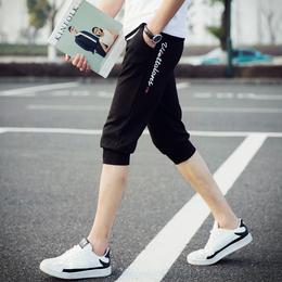 七分裤男士运动短裤修身潮男裤韩版休闲中裤薄款宽松夏季7分马裤