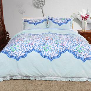雨兰家纺 全棉四件套床单新中式简约双人纯棉中国风被套床上用品