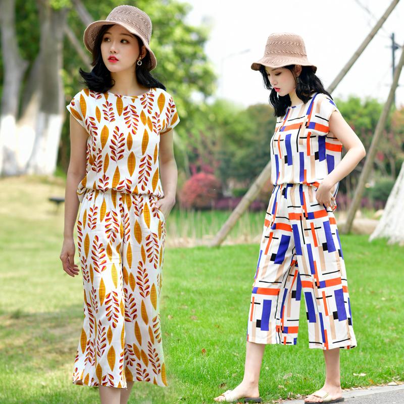 棉绸阔腿裤套装女夏季洋气时尚外穿出海边度假沙滩人造棉绵两件套