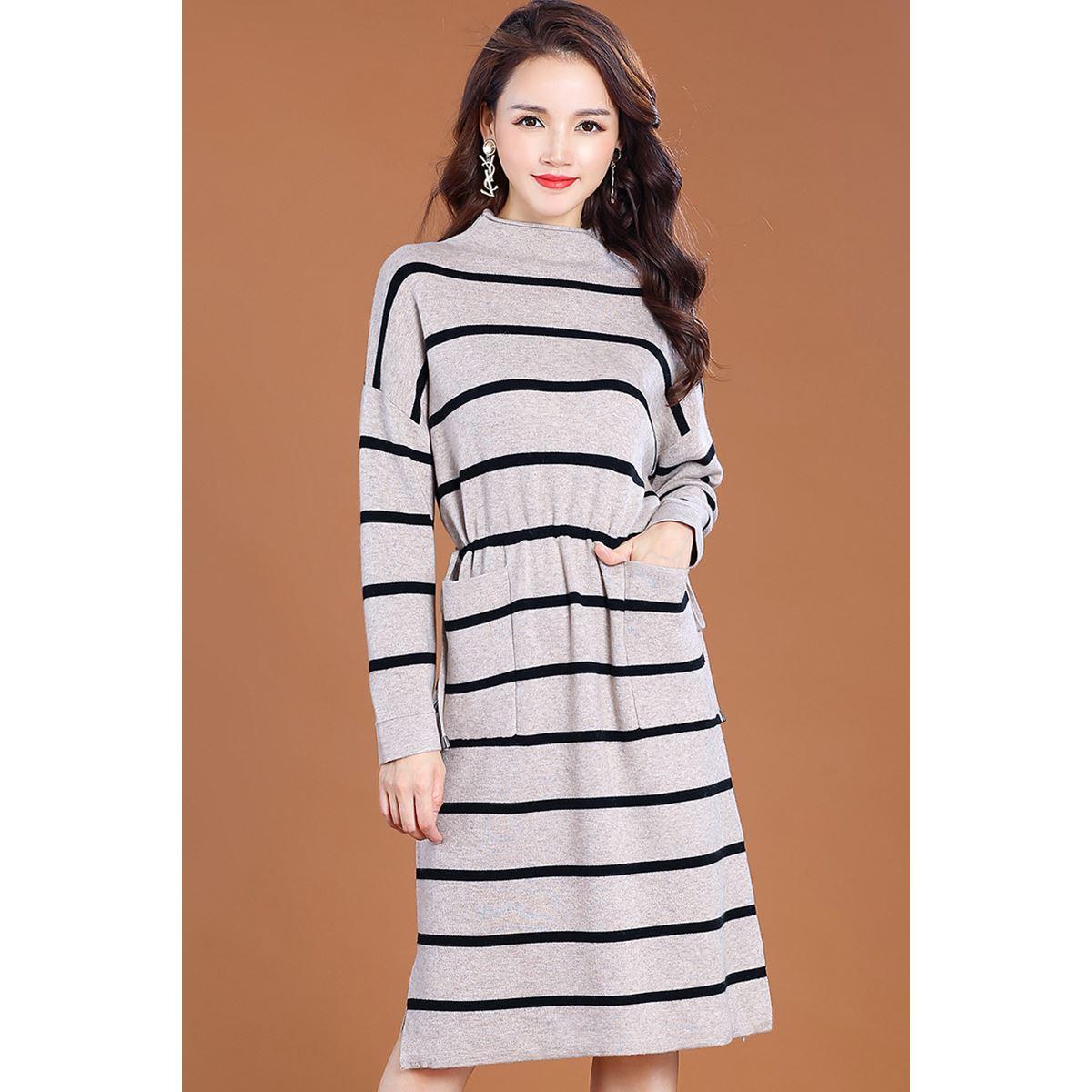 羊毛条纹连衣裙女 两件套套装裙图片