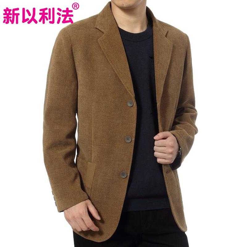 新款中老年男装商务休闲西装灯芯绒中年爸爸装西服上衣春秋装外套