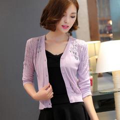 春夏装新品韩版新款小开衫显瘦短款针织开衫披肩女装毛衣薄外套