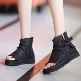 2019凉鞋女新款真皮镂空鱼嘴短靴女松糕厚底防滑凉靴坡跟百搭夹脚