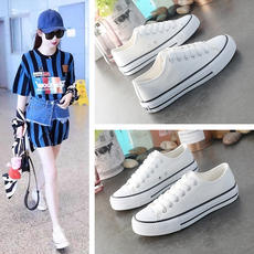 2019 new white canvas women's shoes spring spring flat bottom shoes ulzzang Korean version of the wild summer shoes