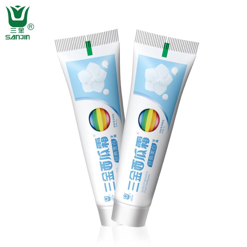 三金西瓜霜去口臭牙膏去牙渍口气清新美白去黄牙白3支共180克