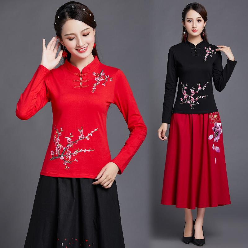 民族风女装上衣 秋装新款中国风绣花长袖t恤女立领刺绣大码打底衫