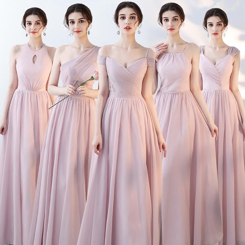 伴娘服长款2019新款夏季粉色姐妹团姐妹裙雪纺长裙毕业派对晚礼服