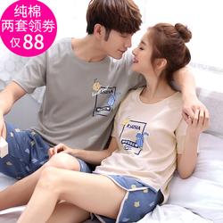 夏季情侣睡衣女纯棉短袖韩版夏天男士可爱全棉薄款家居服两件套装