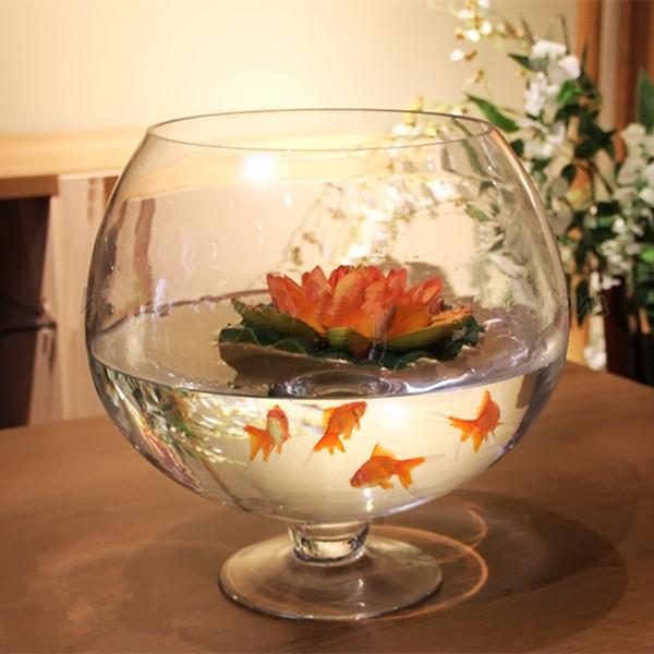 巨型透明玻璃酒杯鱼缸小型迷你创意水培高脚杯大号圆形酒杯式花瓶图片