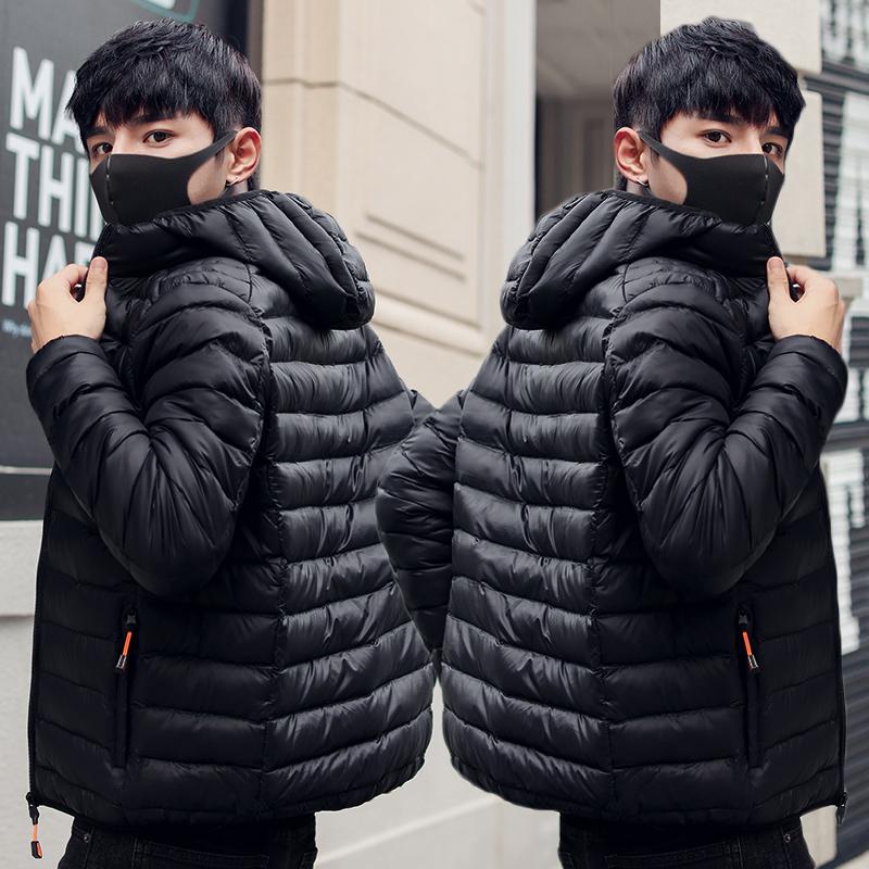 2018冬季新款男士轻薄羽绒棉服短款修身休闲连帽棉袄帅气棉衣外套