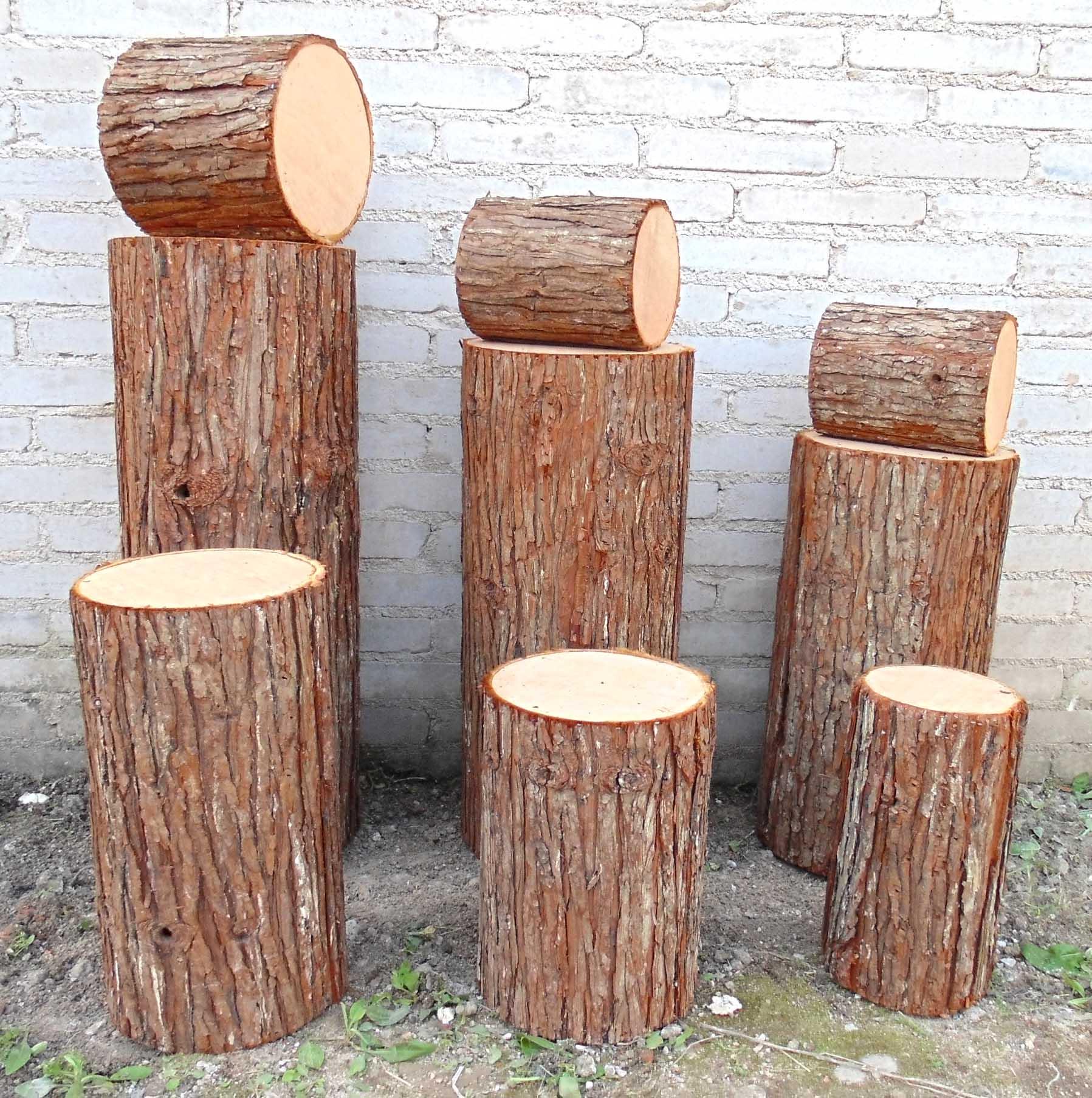 仿真原木圆木道具墩假杉木桩仿真树桩路引婚庆带皮桩柱装饰木桩设备厂摩天轮图片