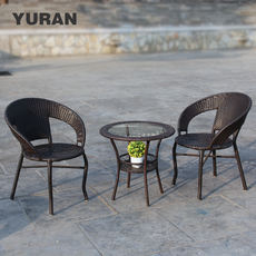 Wicker chair coffee table three sets of outdoor furniture table and chairs balcony leisure indoor rattan chair combination garden chair