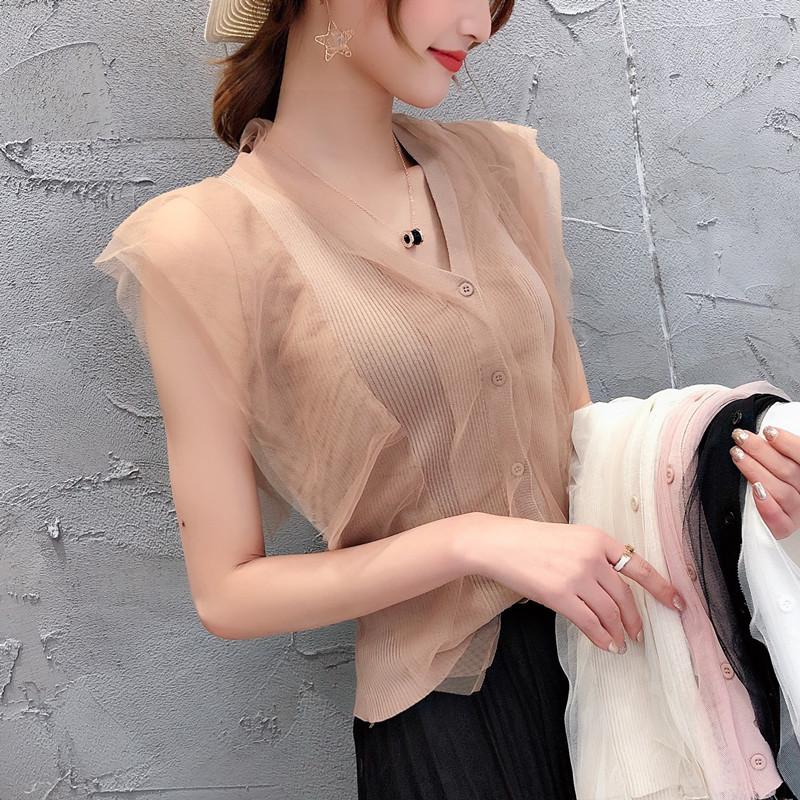 吊带背心女外穿夏季新款衫无袖网纱小开衫性感百搭针织衫短款上衣
