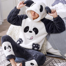 Men's pajamas autumn and winter coral fleece cartoon flannel thickening plus velvet youth autumn and winter models home service suit