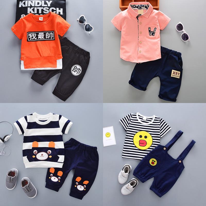 童装男童夏季短袖套装1-2-3岁4宝宝衣服新款女童t恤短裤两件套潮