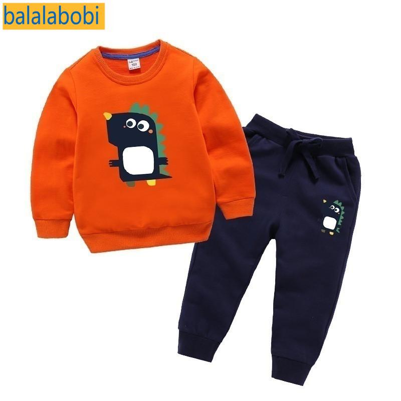 巴拉拉布比童装宝宝卫衣套装男女儿童洋气秋装冬装纯棉两件套恐龙