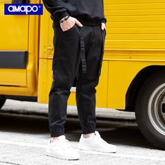 AMAPO潮牌大码男装夏季长裤加肥加大宽松小脚裤工装束脚休闲裤男