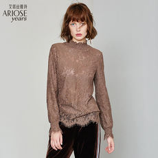 Ainos Ya Shi straight hollow lace shirt 2018 autumn and winter new wild bottoming shirt shirt 71014018