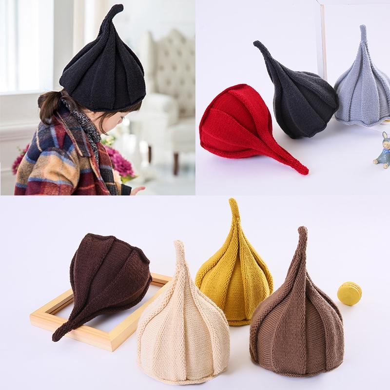 韩版女童春秋冬帽子男童西瓜帽宝宝毛线保暖婴儿儿童尖尖帽潮亲子