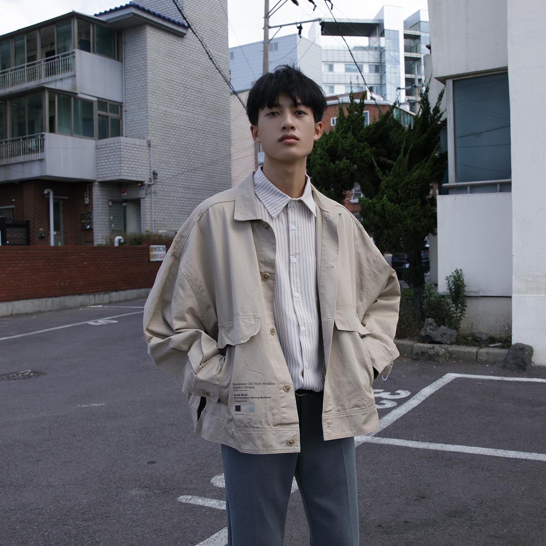大赖自制 秋季新款日系工装夹克男士外套韩版简约宽松短款上衣薄