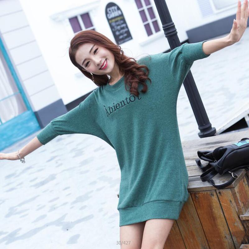 韩版秋季新款女装宽松外穿上衣服打底衫女士中长款长袖T恤潮蝙蝠