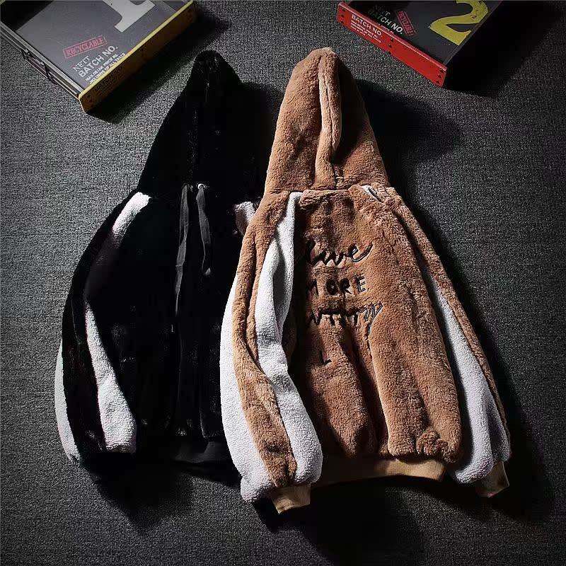 秋冬新款毛绒外套情侣装ulzzang撞色拼接连帽套头衫男女毛毛卫衣