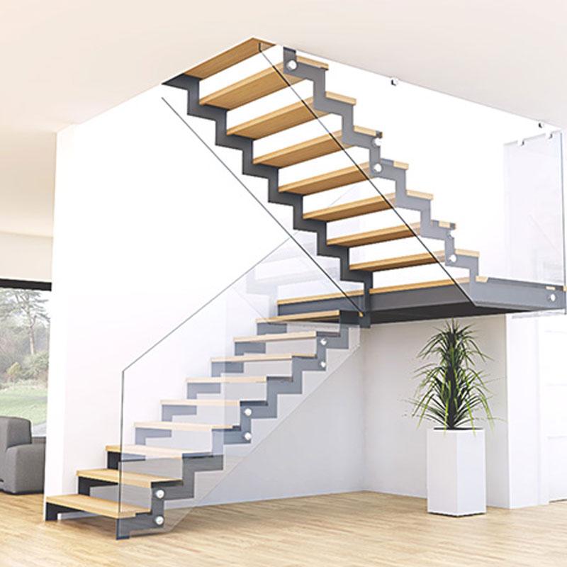 定制双梁钢木楼梯室内家用阁楼楼梯复式楼梯跃层简约现代定做楼梯