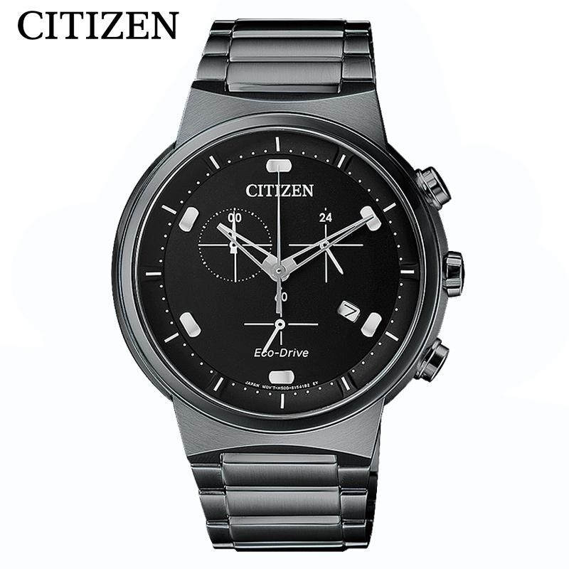CITIZEN西铁城男表酷黑时尚防水光动能男士手表AT2405-87E